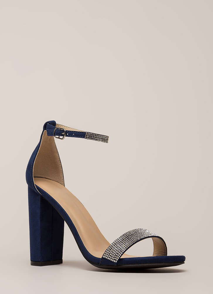 Sparkly Night Out Jeweled Chunky Heels NAVY