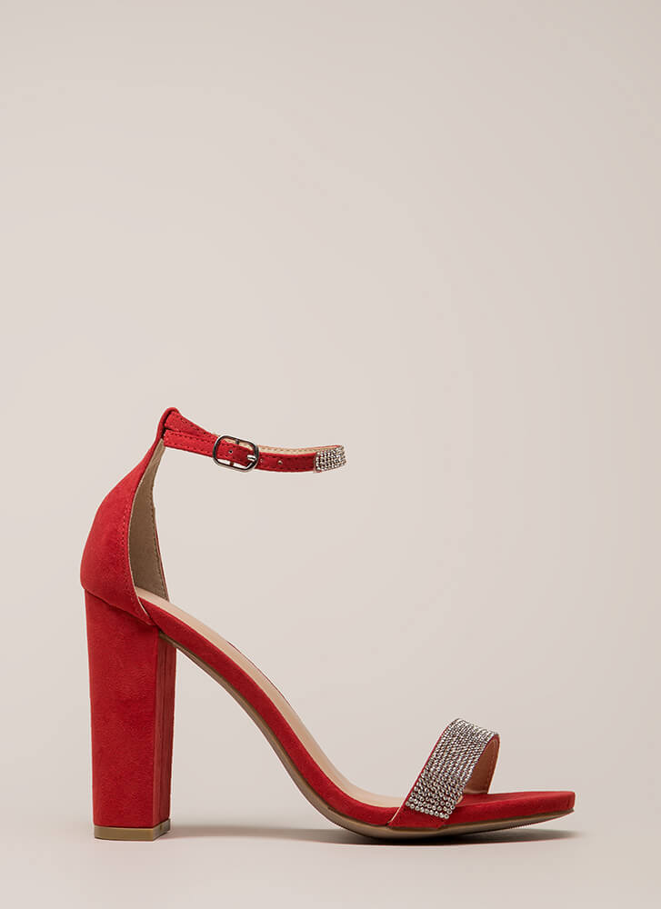 Sparkly Night Out Jeweled Chunky Heels RED
