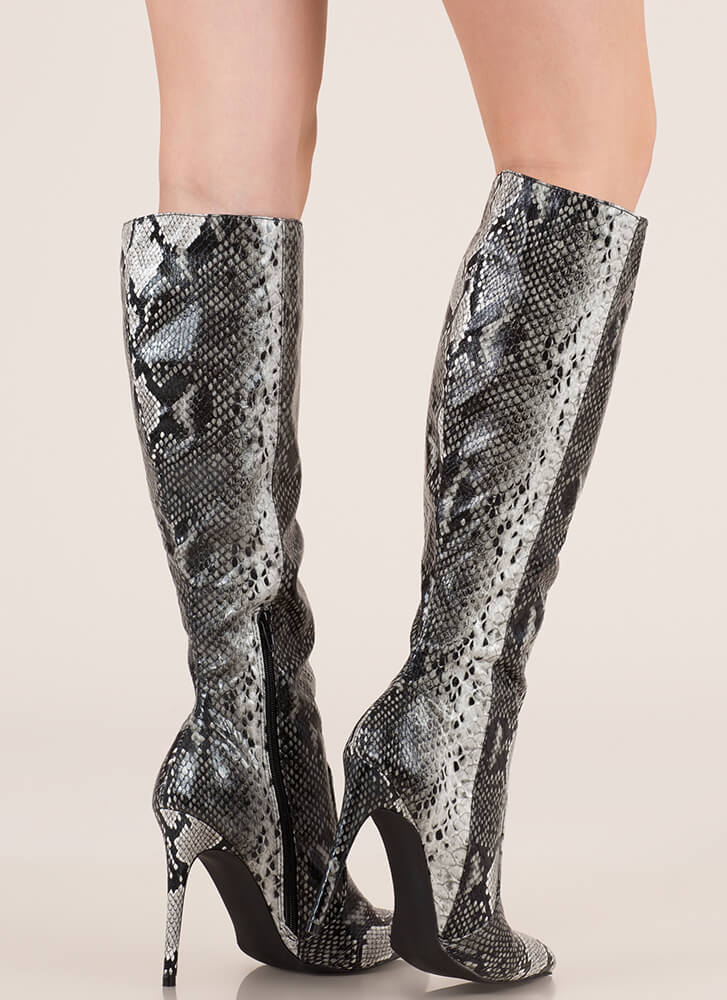 Snake It Off Pointy Knee-High Boots BLACK