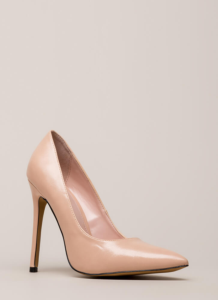 So Essential Pointy Faux Leather Pumps NUDE