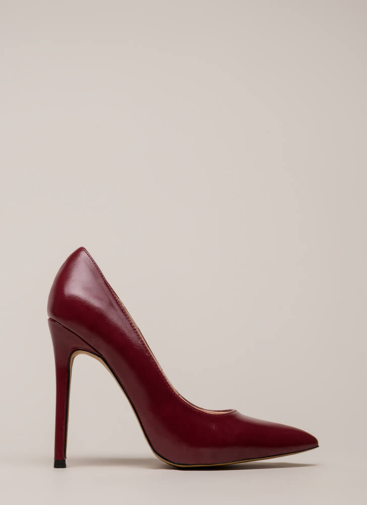 So Essential Pointy Faux Leather Pumps WINE (You Saved $20)