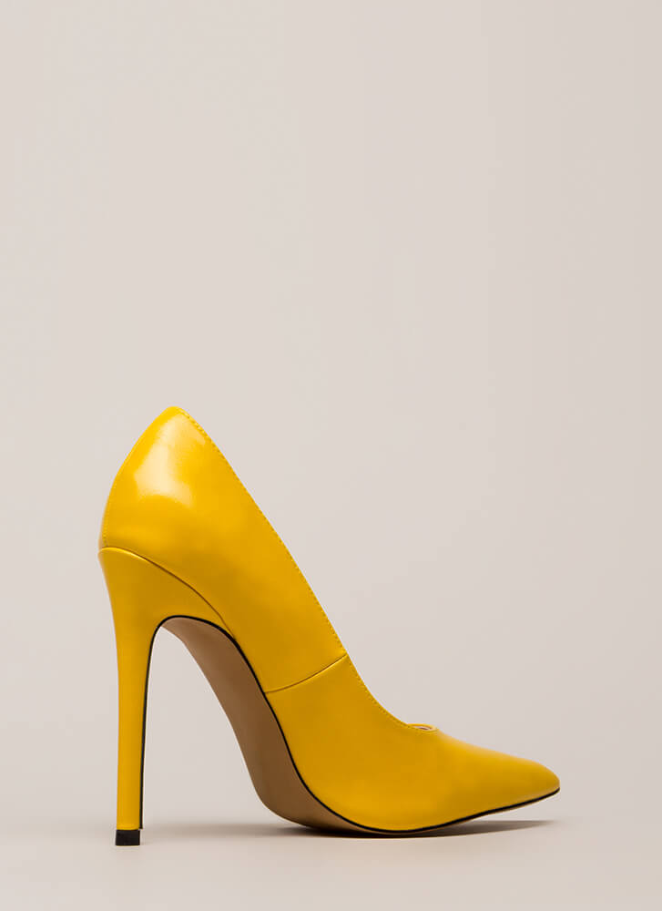 So Essential Pointy Faux Leather Pumps YELLOW