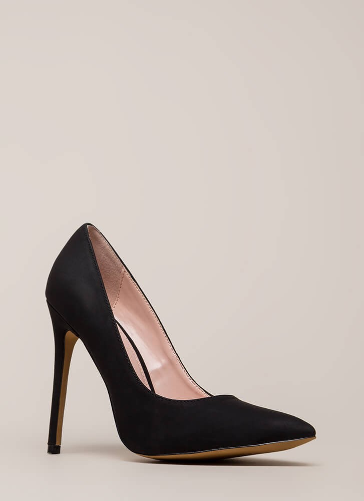 So Important Pointy Faux Nubuck Pumps BLACK