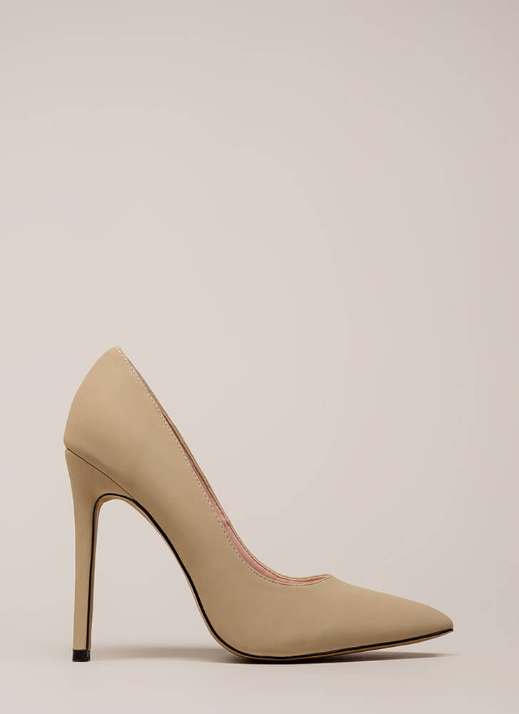 So Important Pointy Faux Nubuck Pumps NUDE