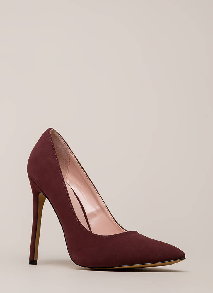 So Important Pointy Faux Nubuck Pumps WINE (Final Sale)