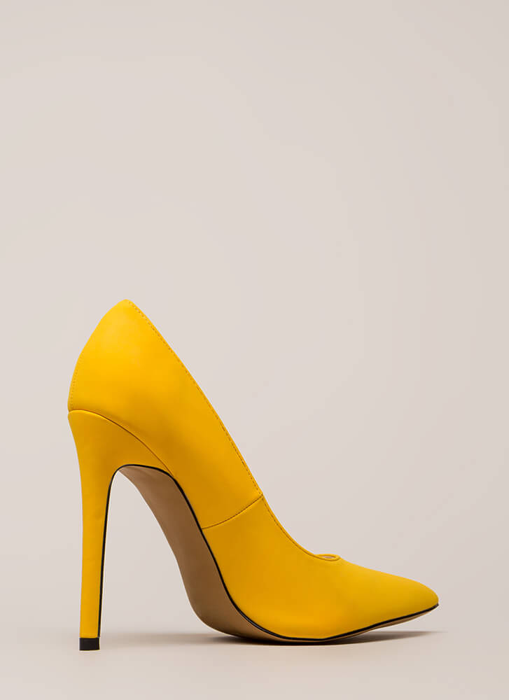 So Important Pointy Faux Nubuck Pumps YELLOW