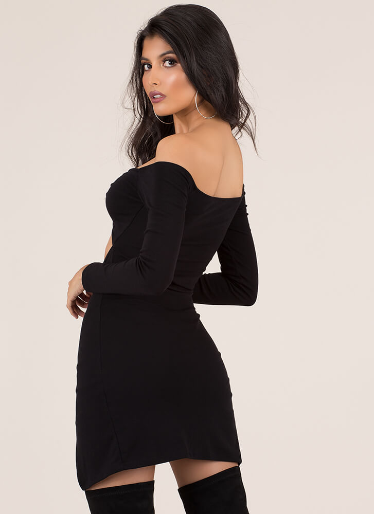 Knotty Girl Cut-Out Off-Shoulder Set BLACK