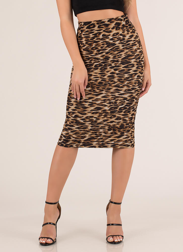 Lady In Leopard Ruched Mesh Midi Skirt LEOPARD