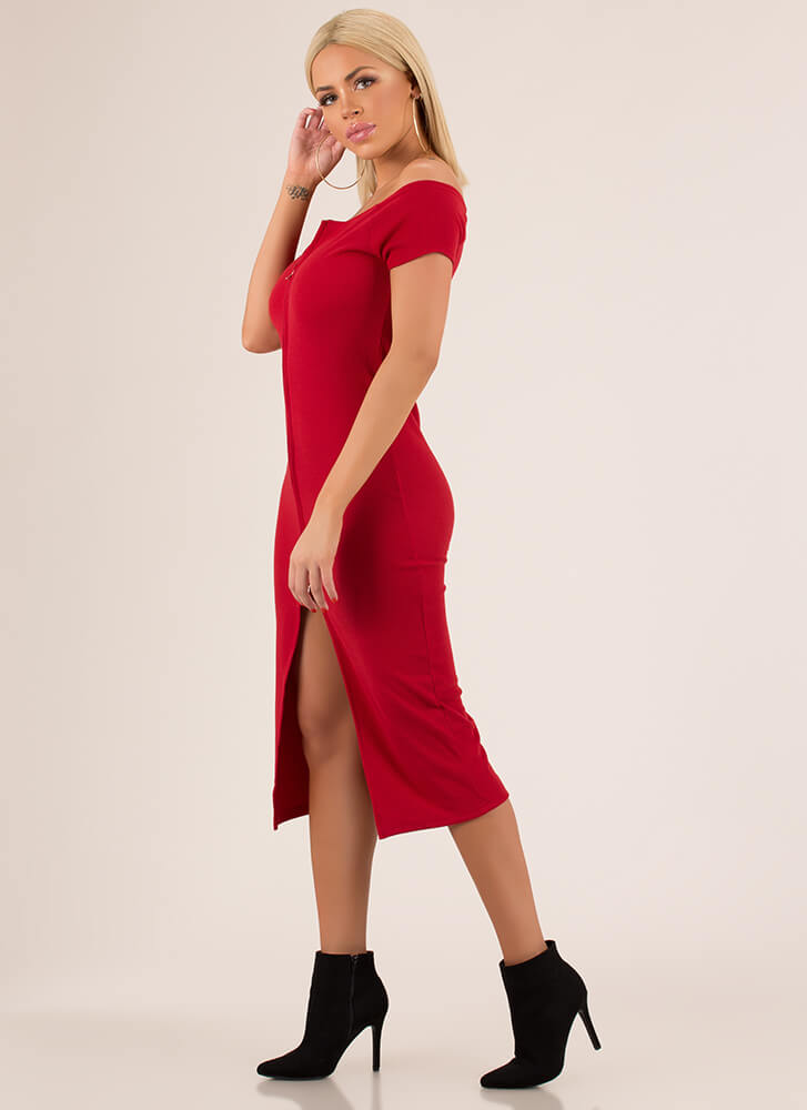 Two-Way Street Slit Zip-Front Dress RED