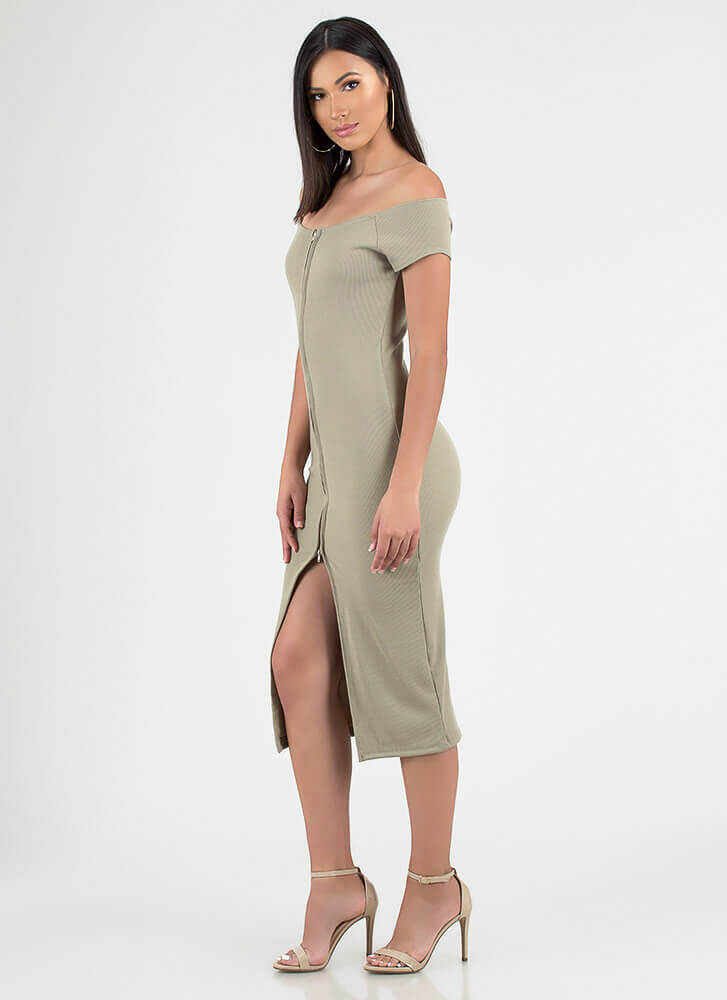 Two-Way Street Slit Zip-Front Dress TAUPE