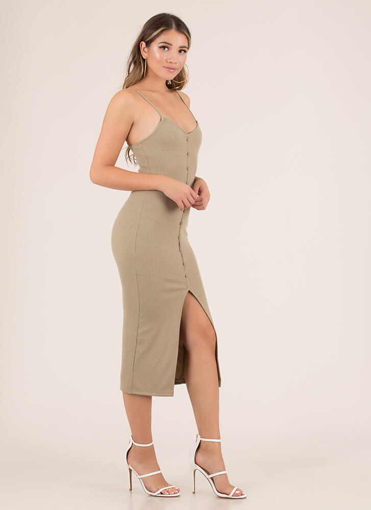 Hot Button Slit Rib Knit Midi Dress TAUPE