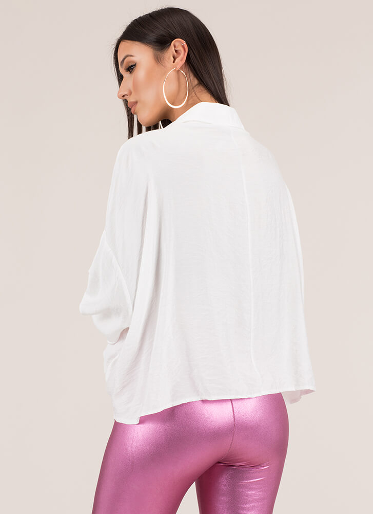 Attention To Detail Twisted Blouse WHITE
