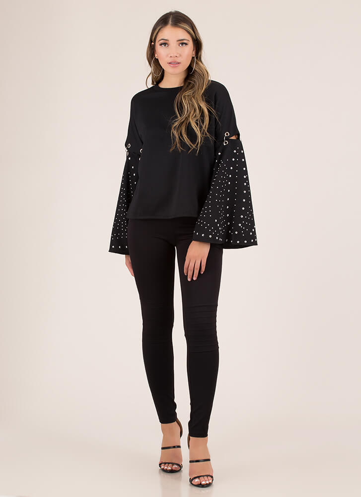 Get Attached Studded Bell-Sleeve Top BLACK