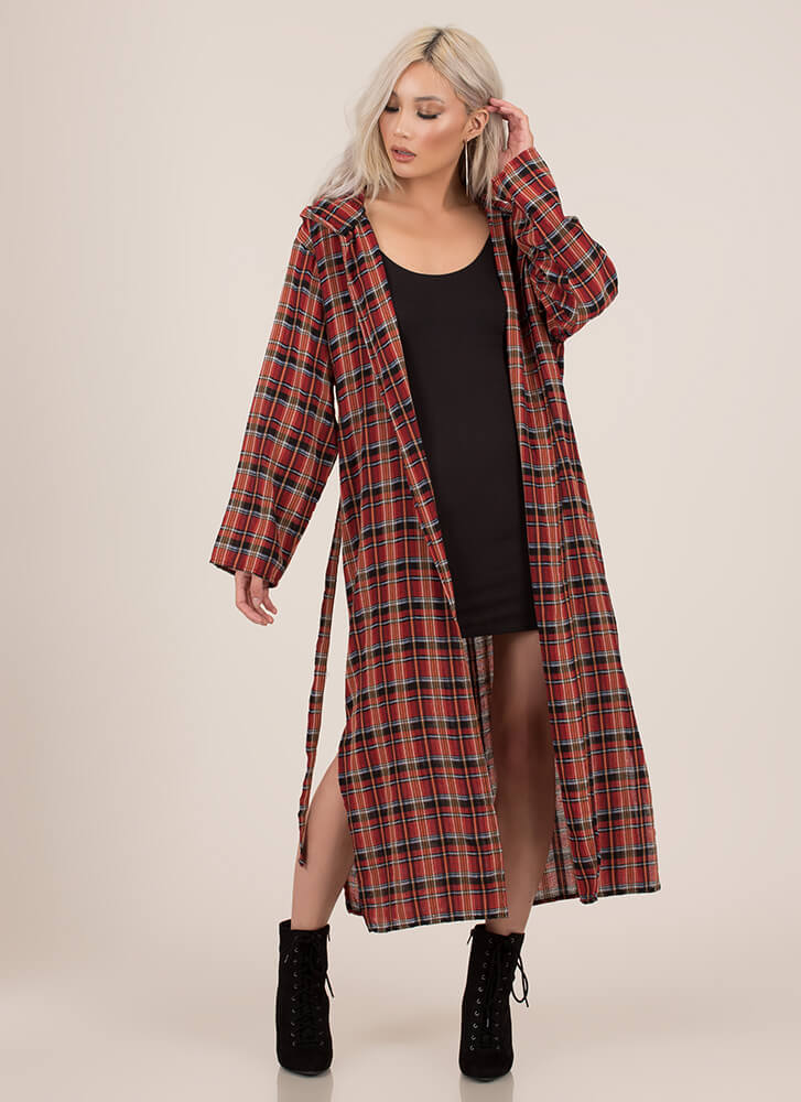 Plaid Perfection Hooded Belted Duster RED