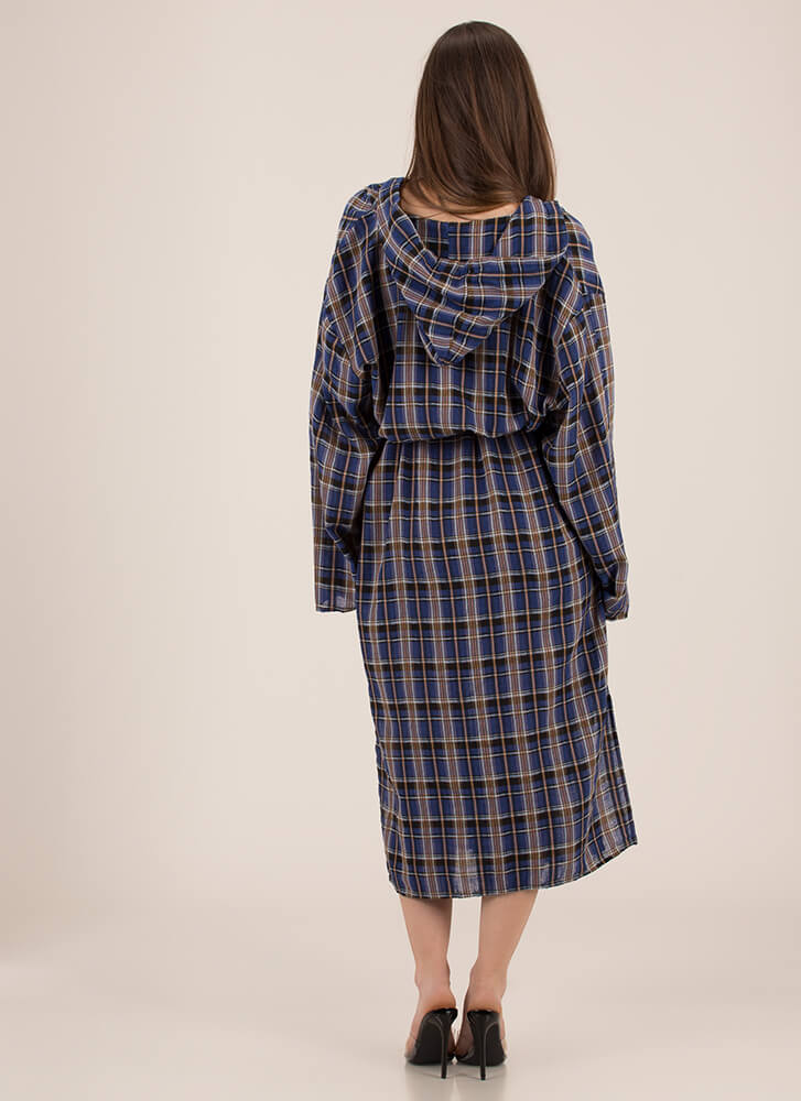 Plaid Perfection Hooded Belted Duster ROYAL