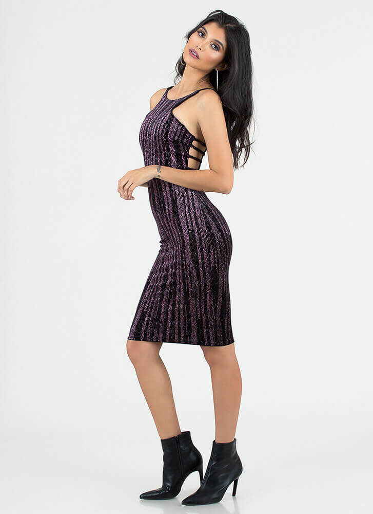 Glittery Nights Strappy Velvet Dress PURPLE
