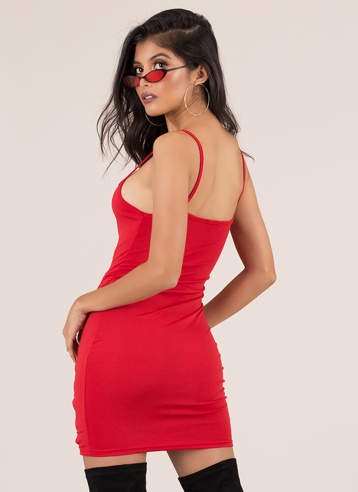X's Beware Cut-Out Caged Minidress RED