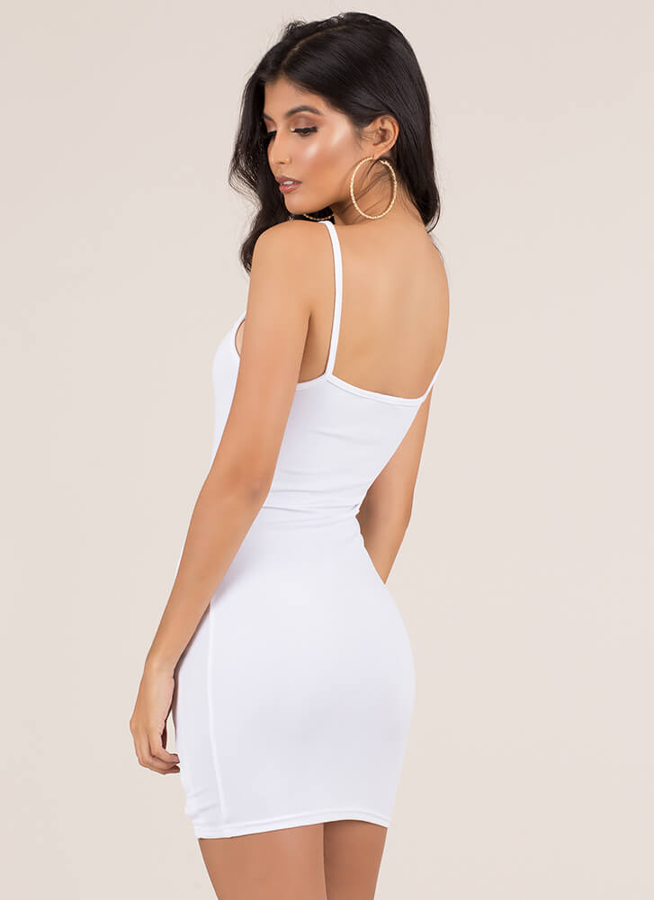 X's Beware Cut-Out Caged Minidress WHITE