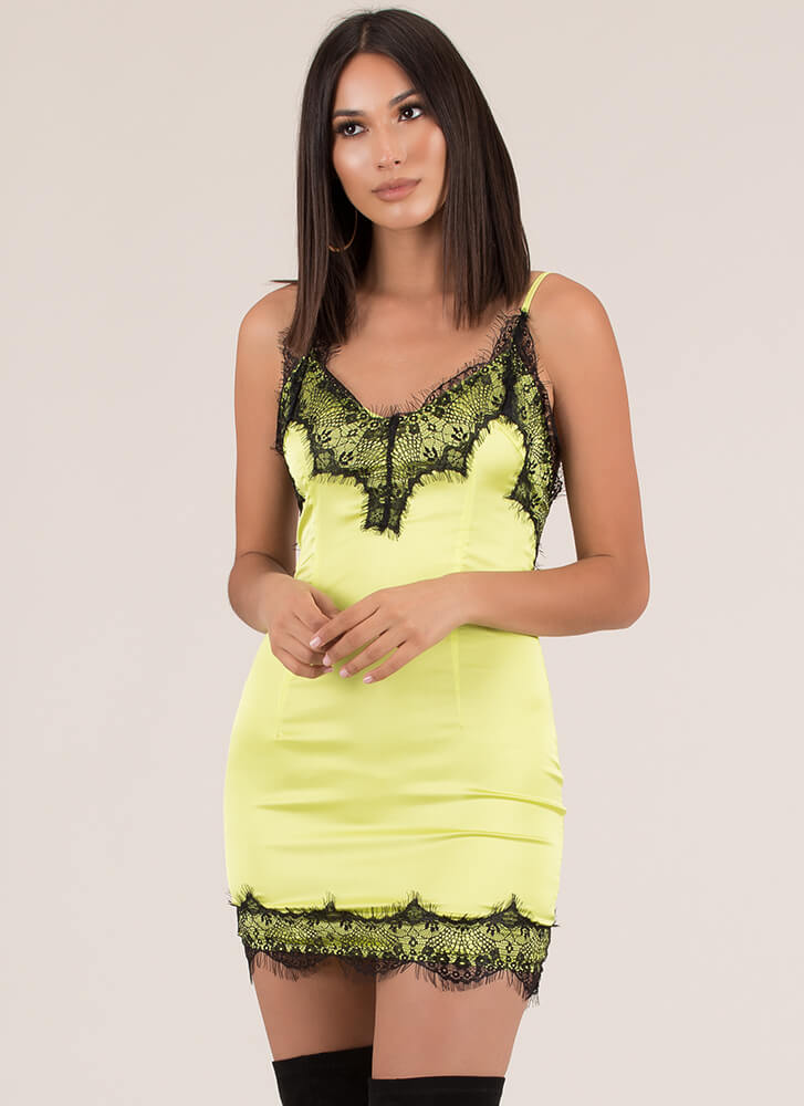 Nightie Night Lacy Satin Minidress LIME