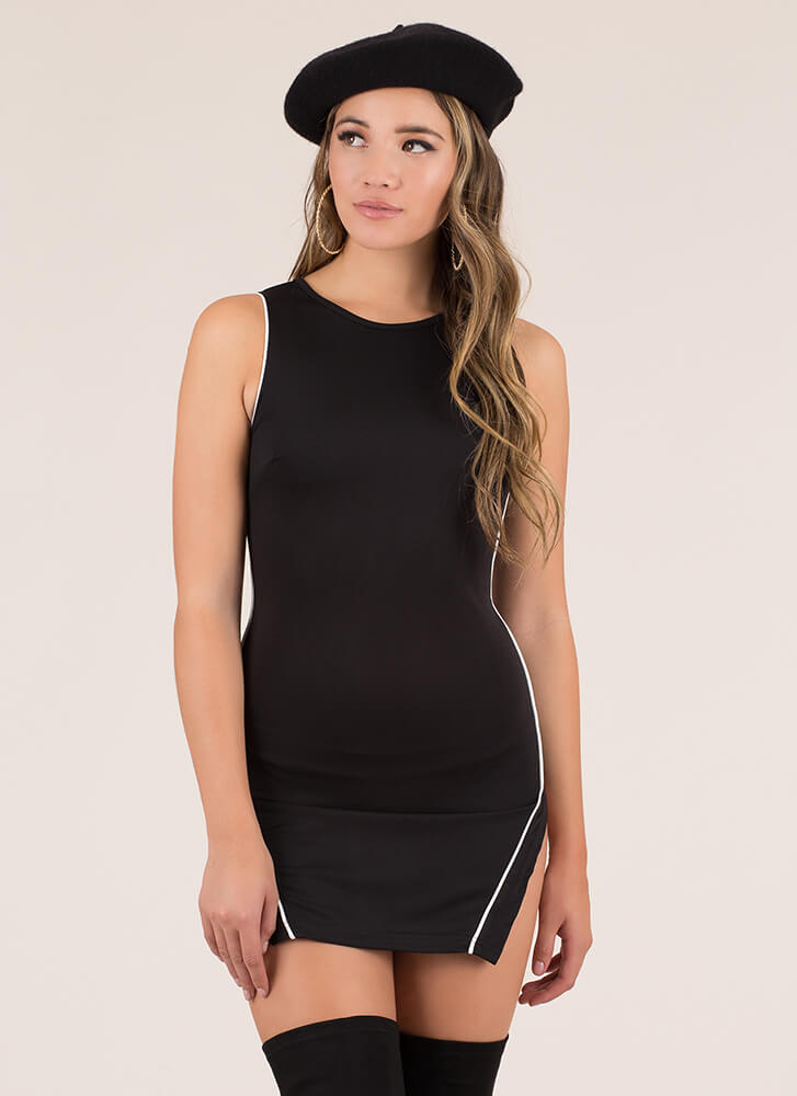 Piping Hot Double Slit Minidress BLACK (Final Sale)