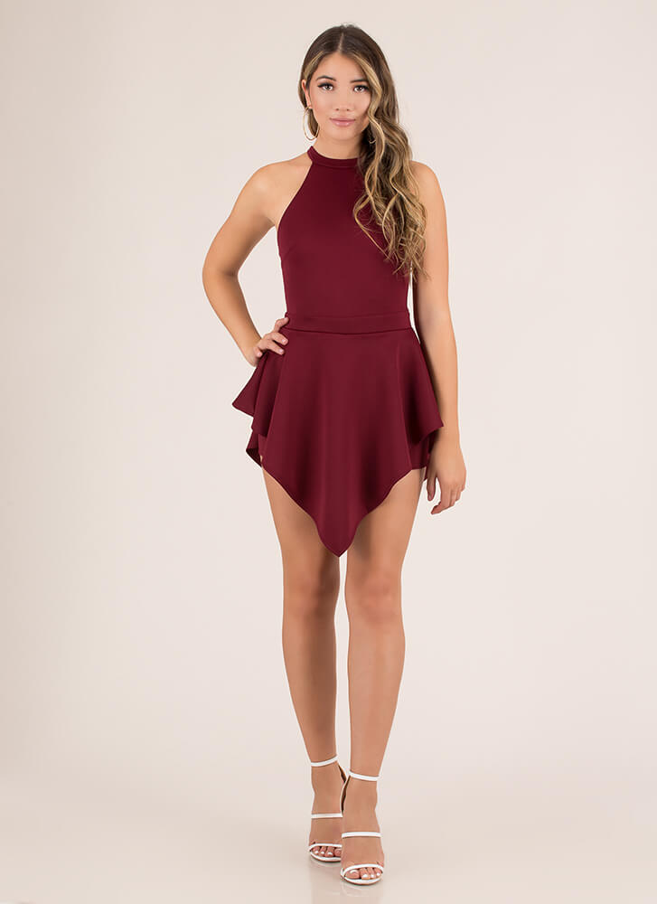 Skirt The Issue Handkerchief Hem Romper BURGUNDY