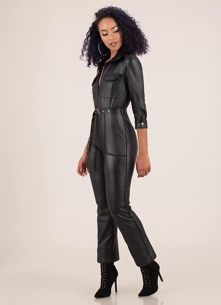 More Moto Belted Faux Leather Jumpsuit BLACK