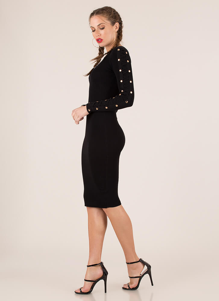 Arm Candy Strappy Studded Midi Dress BLACK
