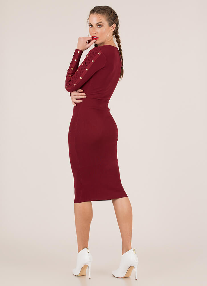 Arm Candy Strappy Studded Midi Dress BURGUNDY