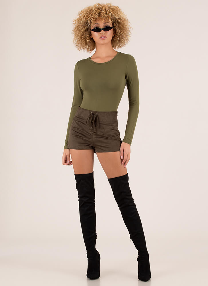 My Wants And Needs Thong Bodysuit OLIVE