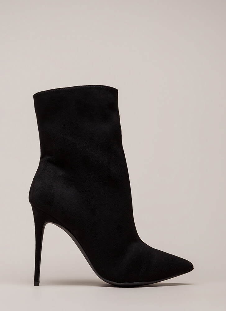 City Chic Pointy Faux Suede Booties BLACK