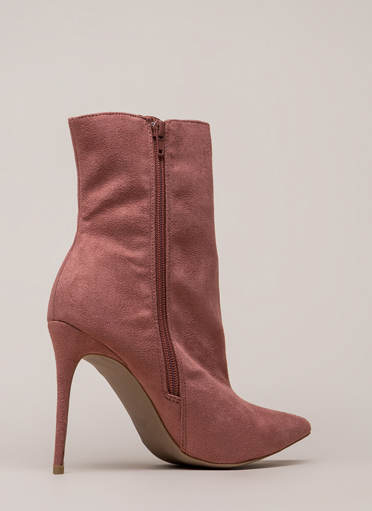 City Chic Pointy Faux Suede Booties DUSTYROSE