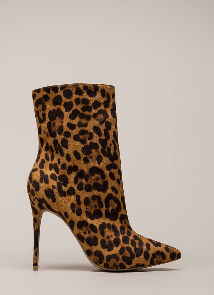 City Chic Pointy Faux Suede Booties LEOPARD