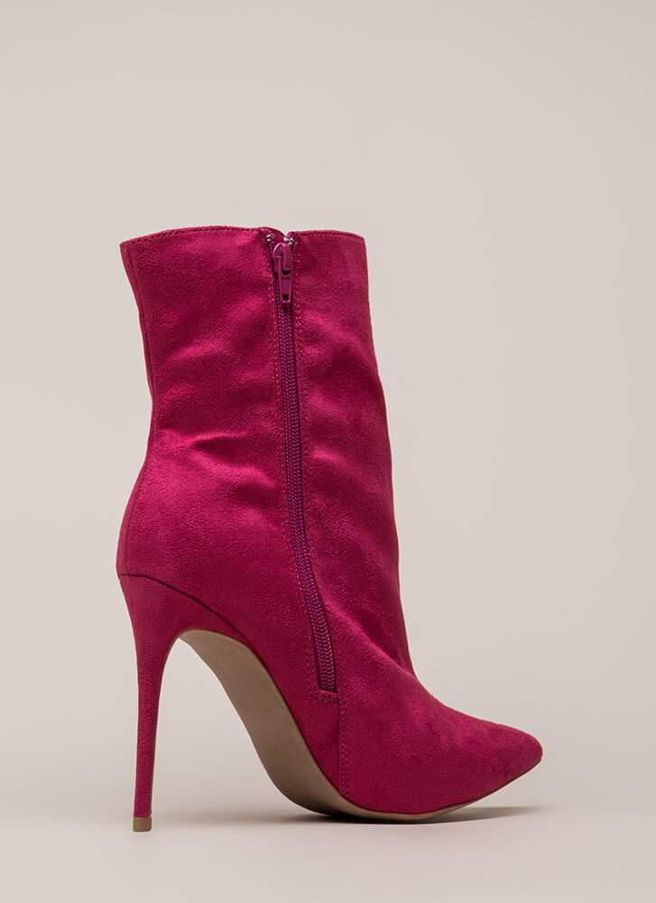 City Chic Pointy Faux Suede Booties MAGENTA