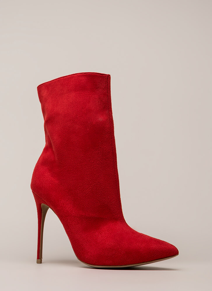 City Chic Pointy Faux Suede Booties RED