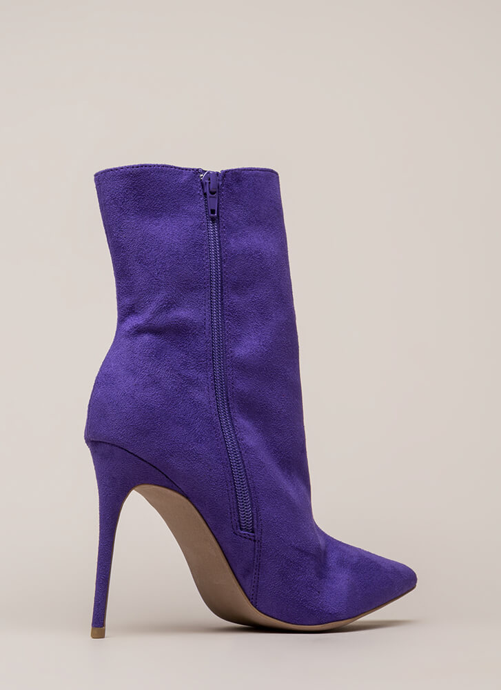 City Chic Pointy Faux Suede Booties ULTRAVIOLET