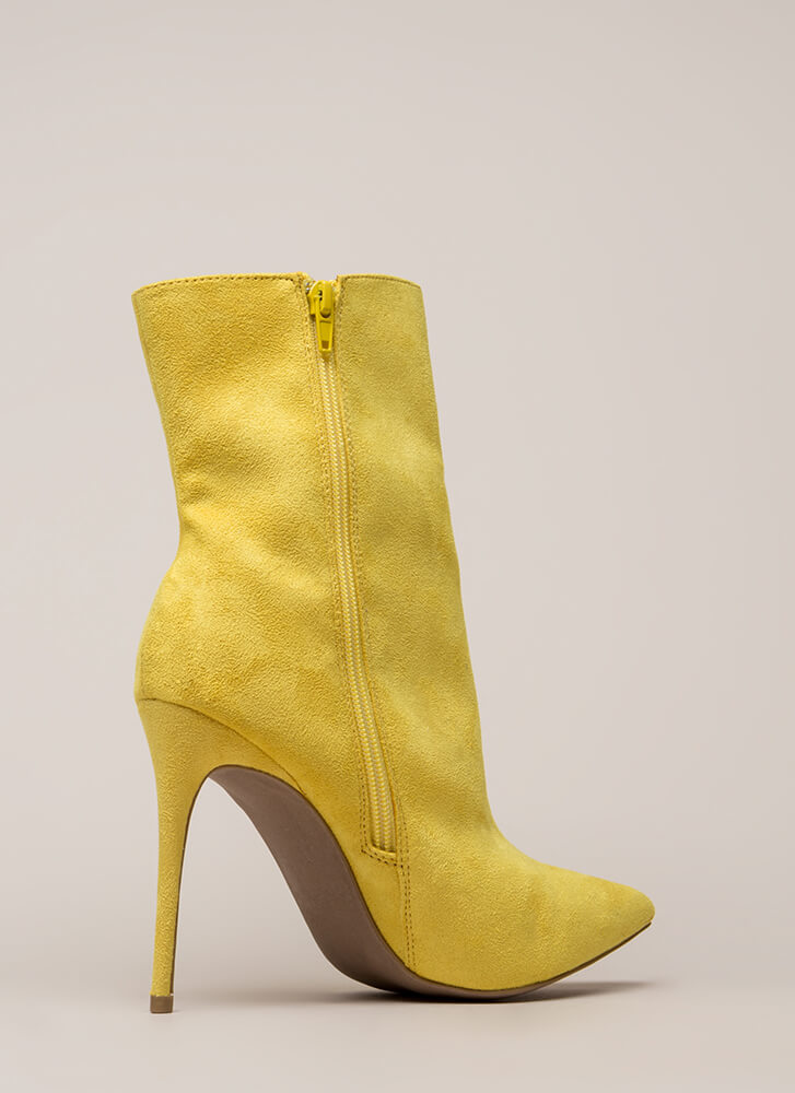 City Chic Pointy Faux Suede Booties YELLOW