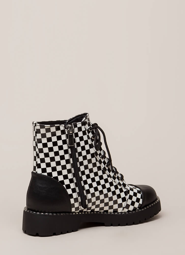 To Cap It Off Checkered Combat Boots BLACKWHITE (Final Sale)