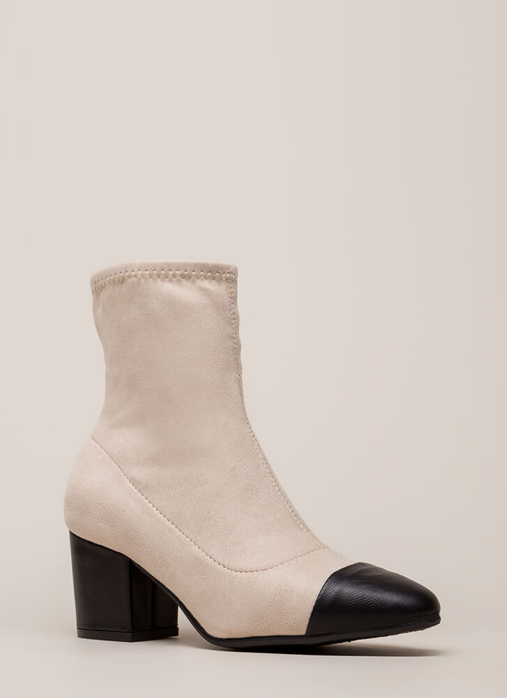 Feather In My Cap-Toe Block Heel Booties IVORY