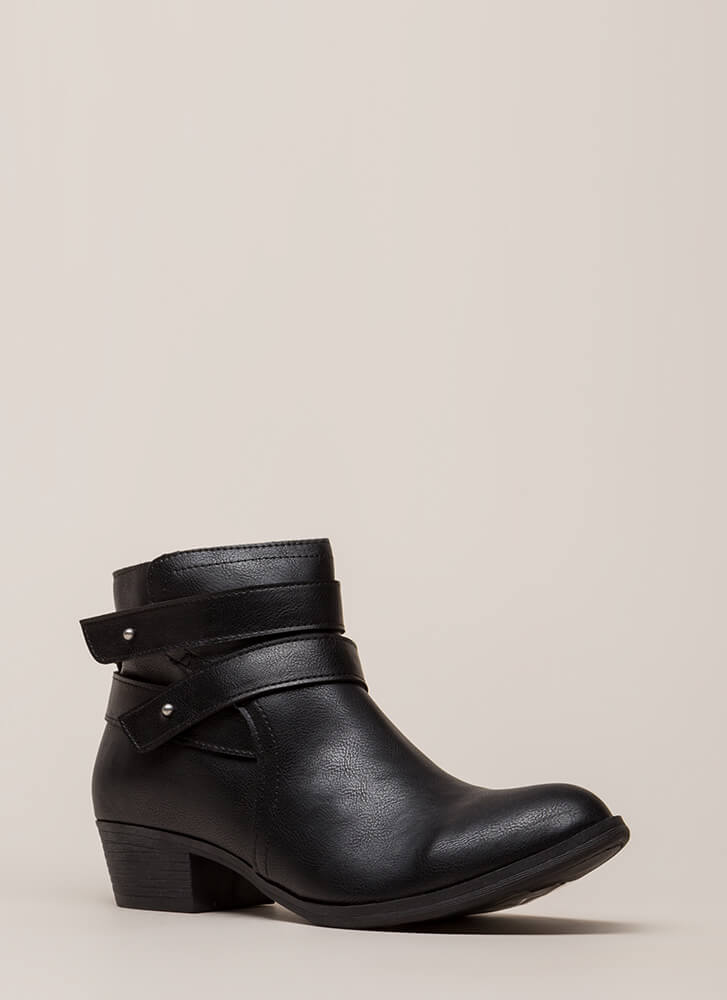 Gimme A Push Peg Strappy Booties BLACK