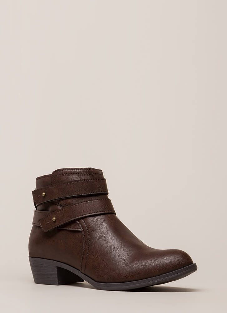 Gimme A Push Peg Strappy Booties BROWN