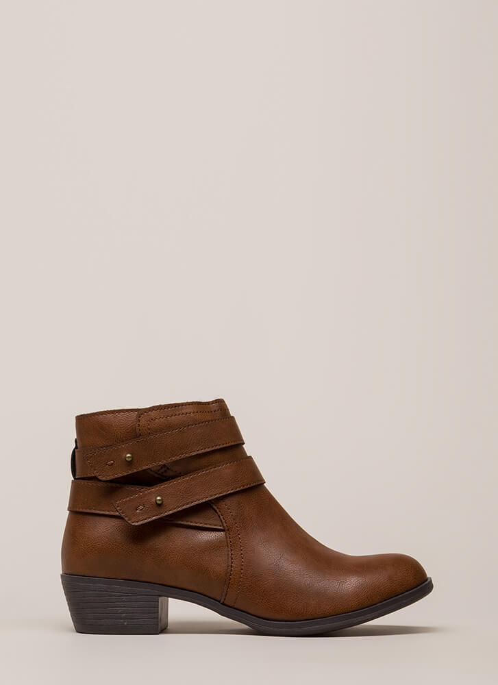 Gimme A Push Peg Strappy Booties CHESTNUT