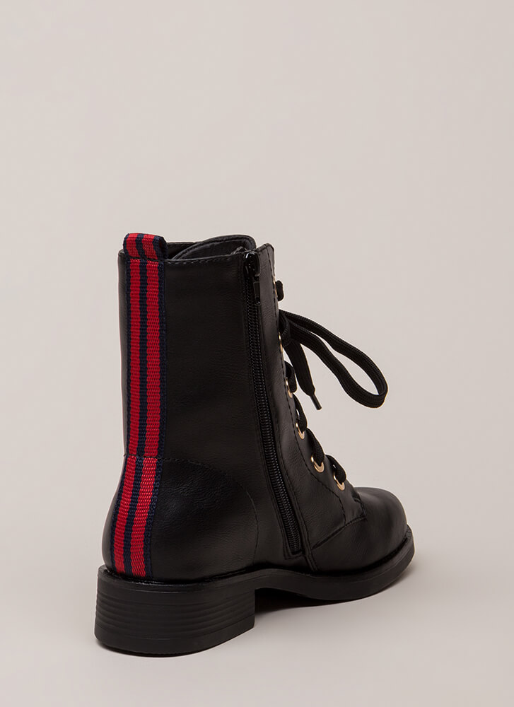 Walk The Lines Striped Combat Boots BLACK (Final Sale)