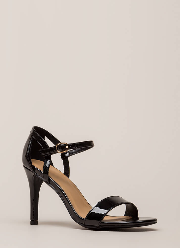 New Classic Cut-Out Faux Patent Heels BLACK