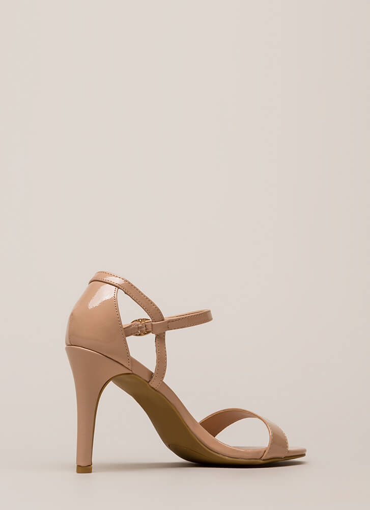 New Classic Cut-Out Faux Patent Heels NUDE