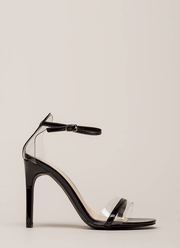 The Illusionist Clear Faux Patent Heels BLACK