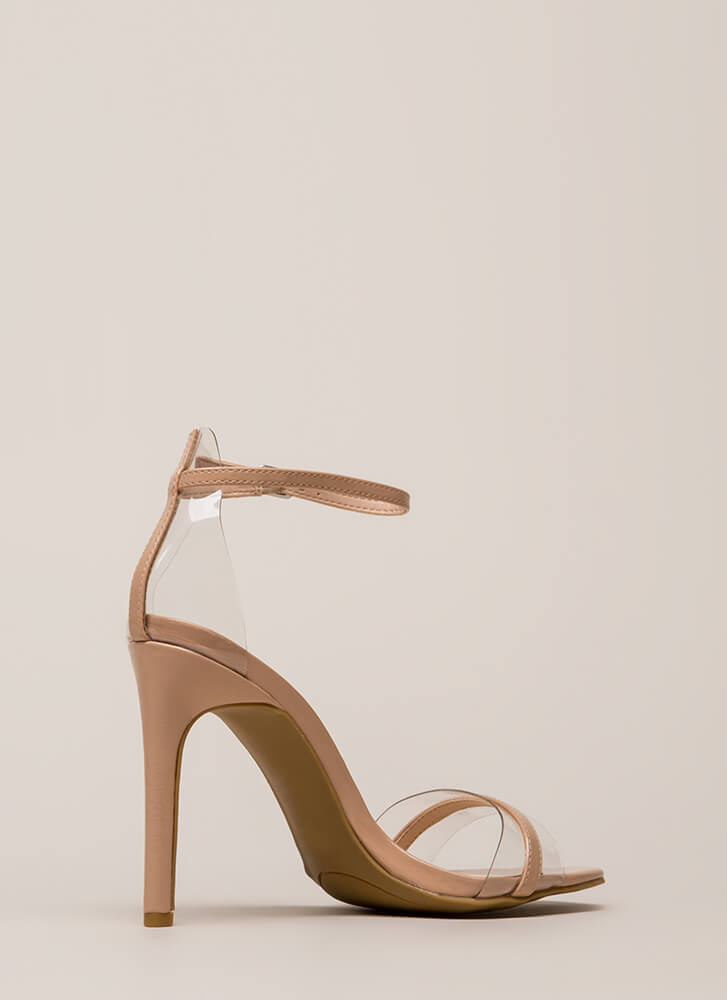 The Illusionist Clear Faux Patent Heels NUDE