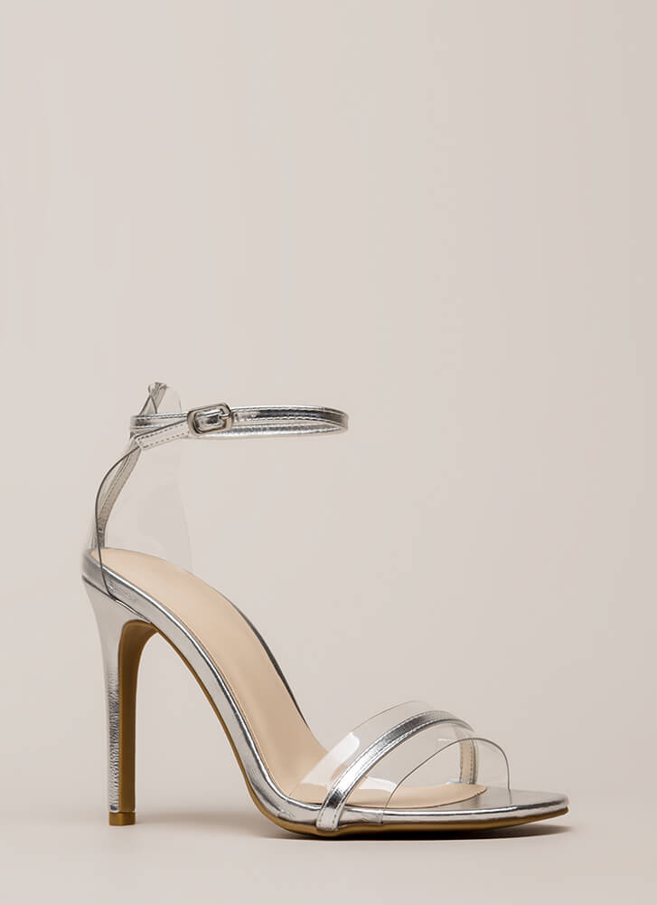 The Illusionist Clear Metallic Heels SILVER (Final Sale)