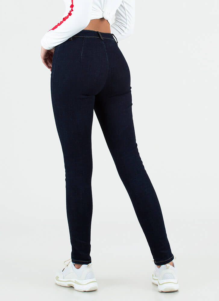 Playful Lace-Front Skinny Jeans BLUE