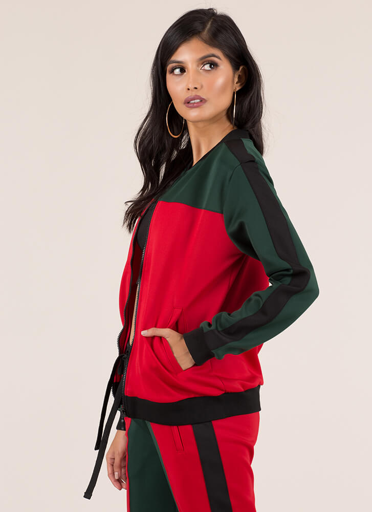 Track And Feels Colorblock Jacket REDGREEN