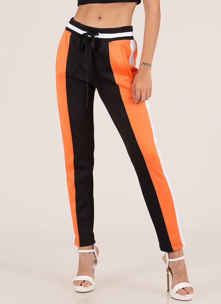 Track And Feels Colorblock Pants ORANGEBLACK